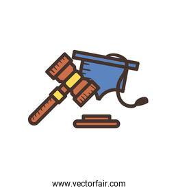 law hammer and hat line and fill style icon vector design