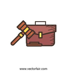 law hammer and suitcase line and fill style icon vector design