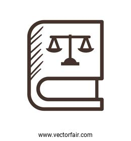 law scale on book line style icon vector design