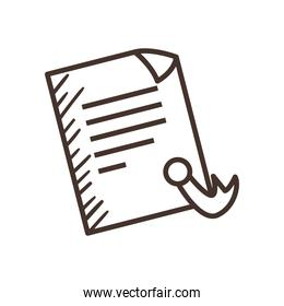 document paper with seal stamp line style icon vector design