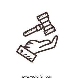 law hammer over hand line style icon vector design