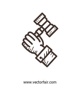 hand holding law hammer line style icon vector design
