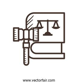 law scale on book with hammer line style icon vector design