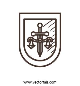 law scale with sword in shield line style icon vector design
