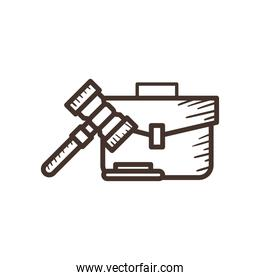law hammer and suitcase line style icon vector design
