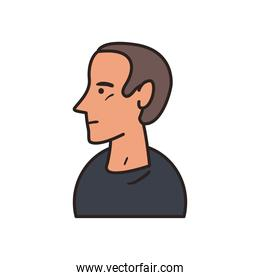 white man with black tshirt line and fill style icon vector design