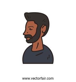 black man with black tshirt line and fill style icon vector design
