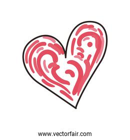 Heart line and fill style icon vector design