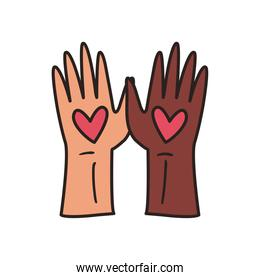 black and white hands with hearts line and fill style icon vector design