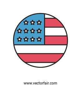 usa flag circle line and fill style icon vector design
