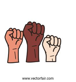 black and white fists hands line and fill style icon vector design