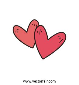 Hearts line and fill style icon vector design