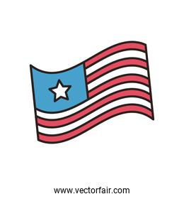 usa flag line and fill style icon vector design