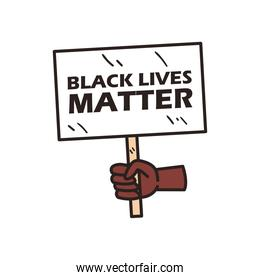 hand holding black lives matter banner board line and fill style icon vector design