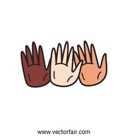 diversity of skins hands line and fill style icon vector design