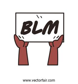 hands holding black lives matter on banner board line and fill style icon vector design