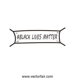 Black lives matter banner line style icon vector design