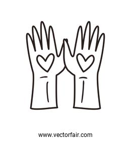 Hearts over hands line style icon vector design
