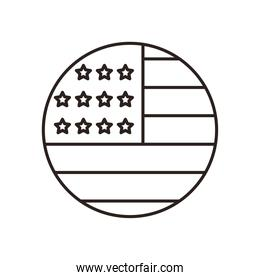 usa flag circle line style icon vector design