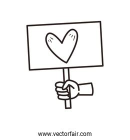 black hand holding heart on banner board line style icon vector design