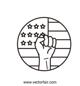usa flag circle with fist hand line style icon vector design