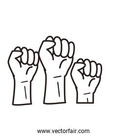 fists hands line style icon vector design
