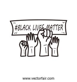Black lives matter banner over hands line style icon vector design