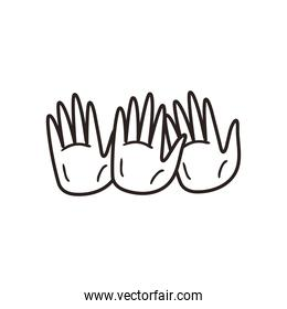 diversity of skins hands line style icon vector design