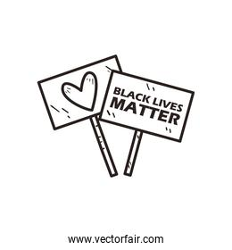 Black lives matter and heart banners boards line style icon vector design