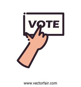 hand with vote paper line and fill style icon vector design