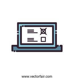 laptop with president election options line and fill style icon vector design