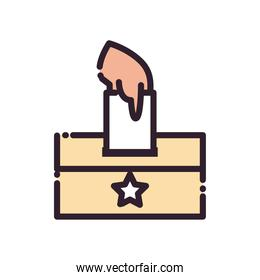 hand with paper and vote box line and fill style icon vector design
