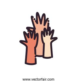 hands line and fill style icon vector design