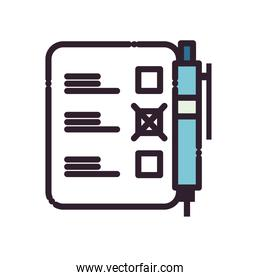 pen with president election options paper line and fill style icon vector design