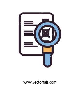 lupe with president election options paper line and fill style icon vector design