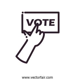 hand with vote paper line style icon vector design