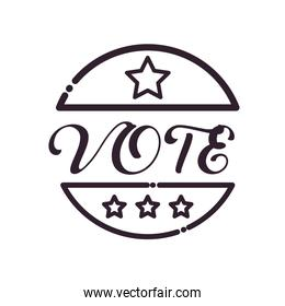 Vote seal stamp line style icon vector design