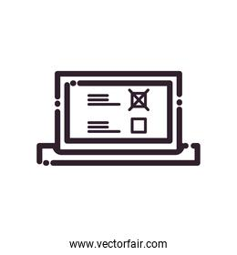 laptop with president election options line style icon vector design