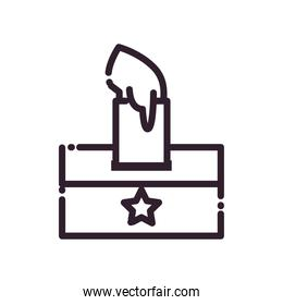 hand with paper and vote box line style icon vector design