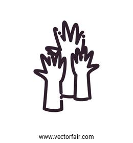 hands line style icon vector design
