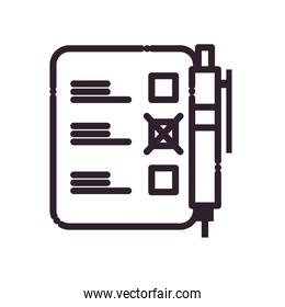 pen with president election options paper line style icon vector design