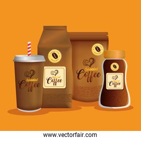 branding mockup coffee shop, corporate identity mockup, zip package, bag paper, disposable and bottle of special coffee