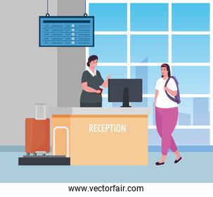 stewardess and woman in reception of the airport terminal