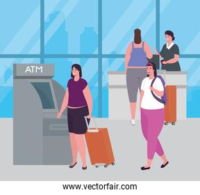 women and stewardess in the airport terminal, atm and reception attention