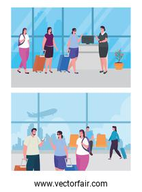 set scenes of people and stewardess in the airport terminal