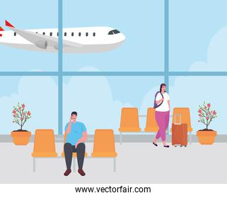 couple in the airport terminal, passenger at airport terminal with baggages