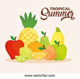 tropical summer banner with fresh fruits