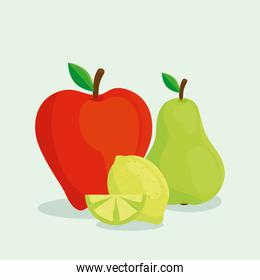fresh fruits, red apple with pear and lemon