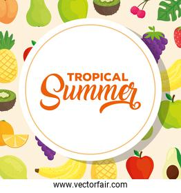 tropical summer banner, with fresh fruits
