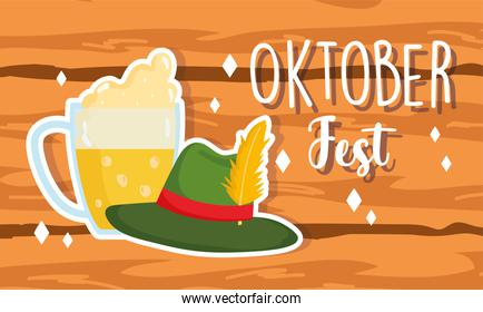 oktoberfest festival, woonde banner beer and hat with feather, celebration germany traditional